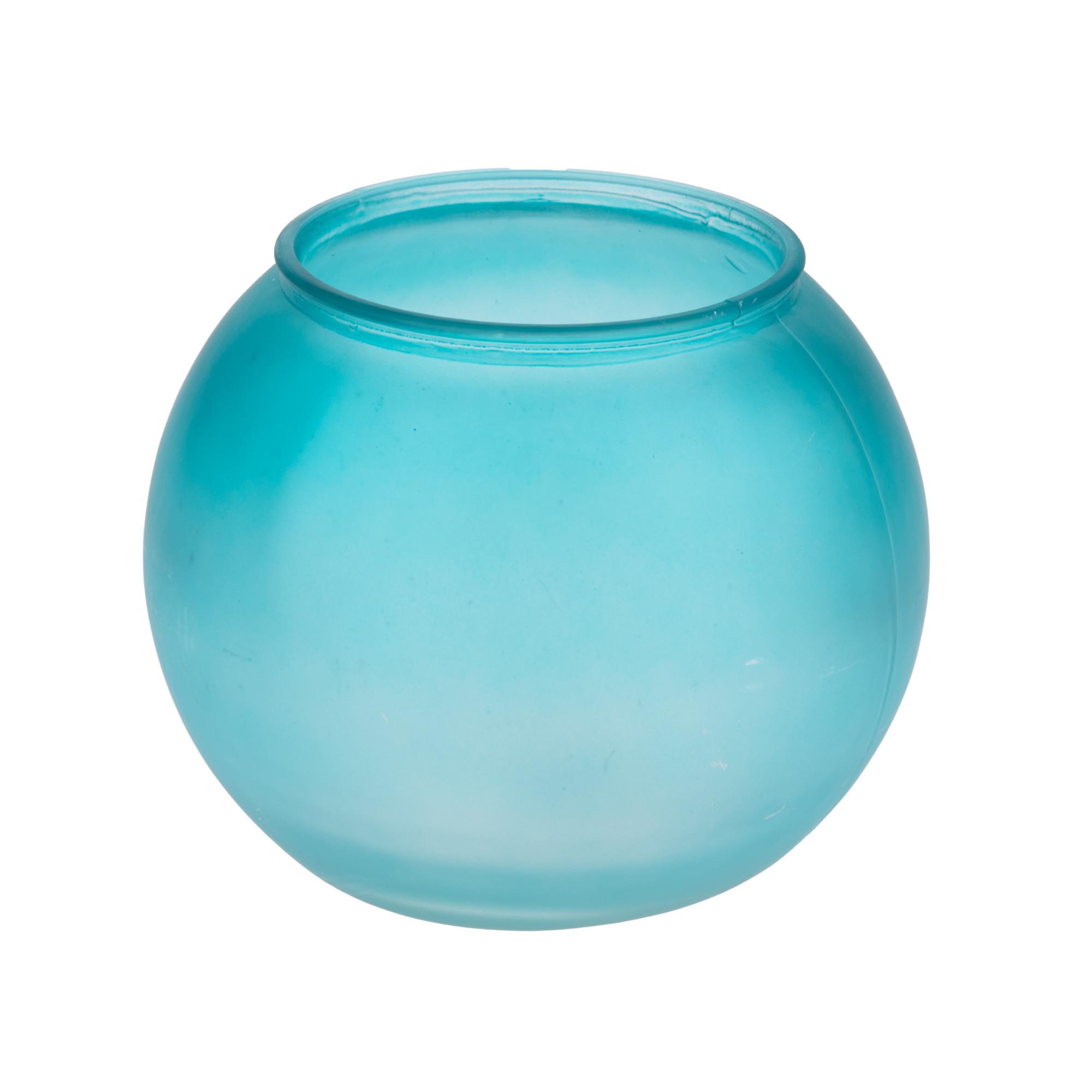 Glazen Vaas Rond Groot.64lvl Glas Vaas Rond Bol Blauw Groot Colored Glass Glassware
